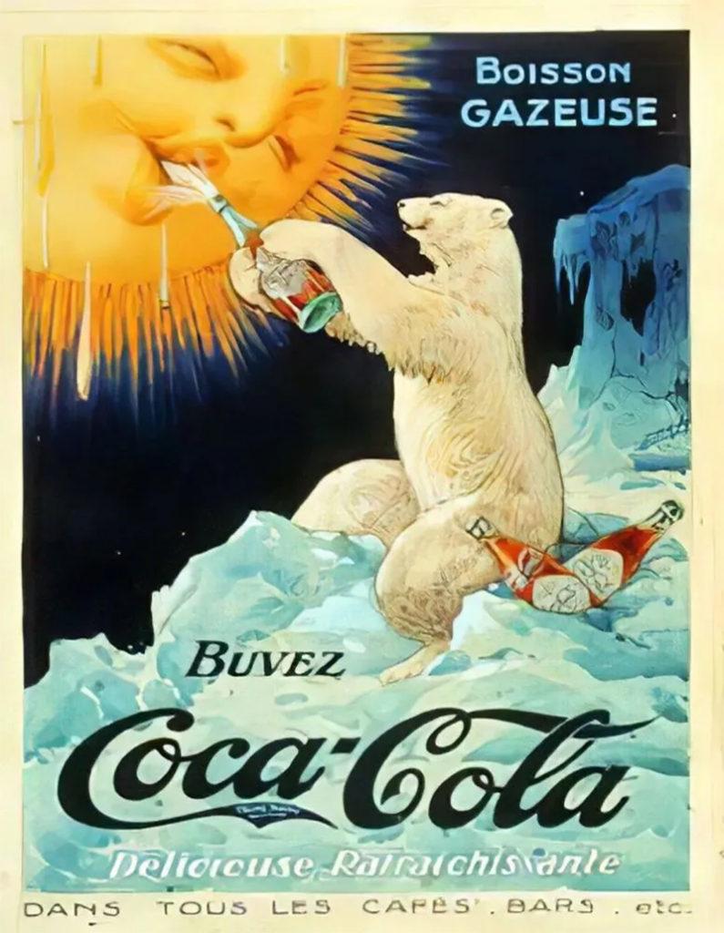 ▲1922年可口可樂第一支北極熊廣告。廣告中可見北極熊用一瓶可口可樂給太陽降溫。